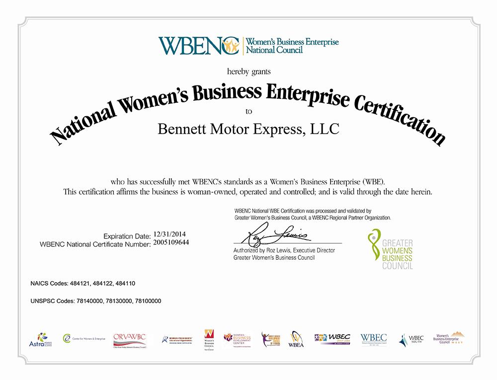 WBENC Certification - Ace Doran Hauling & Rigging