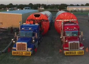 Ace Doran trucks hauling wind towers
